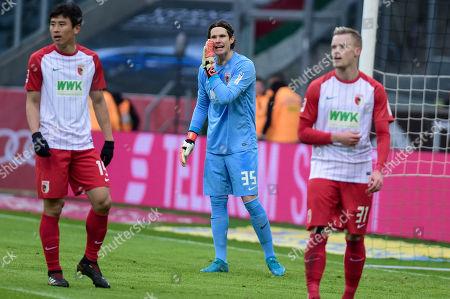 Football : Germany -1. Bundesliga  2015/16  Borussia Moenchengladbach Vs FC Augsburg  20/01/2018 - Marvin Friedrich (FC Augsburg), Marwin Hitz (FC Augsburg), Sergia Cordova (FC Augsburg)