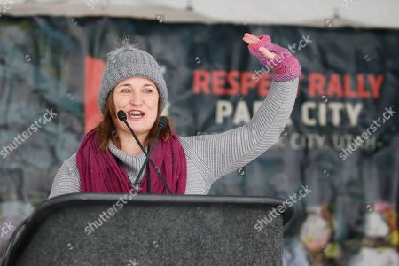 Utah Democratic Senatorial candidate Jenny Wilson speaks at the Respect Rally Park City during the 2018 Sundance Film Festival, in Park City, Utah