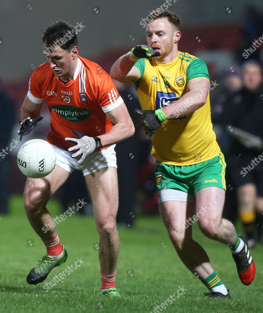 Donegal vs Armagh. Armagh's Stephen Sheridan and Eamon Doherty of Donegal