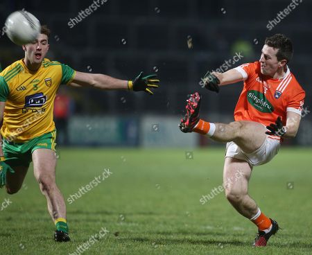 Donegal vs Armagh. Armagh's Michael Stevenson and Stephen McMenamin of Donegal
