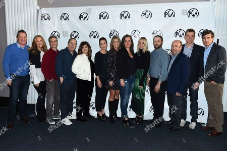 Gary Lucchesi, Lori McCreary, Barry Mendel, Mark Gordon, Amy Pascal, Evelyn O'Neill, Deborah Snyder, Emma Thomas, Margot Robbie, Sean McKittrick, J. Miles Dale, Graham Broadbent, Peter Spears. From left, PGA Presidents Gary Lucchesi and Lori McCreary pose with nominees Barry Mendel, Mark Gordon, Amy Pascal, Evelyn O'Neill, Deborah Snyder, Emma Thomas, Margot Robbie, Sean McKittrick, J. Miles Dale, Graham Broadbent and Peter Spears at the 2018 PGA Nominees Breakfast on in Beverly Hills, Calif