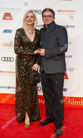 Annemarie and Wayne Carpendale arrive for the 45th German Film Ball at the Hotel Bayerischer Hof in Munich, Germany, 20 January 2018.