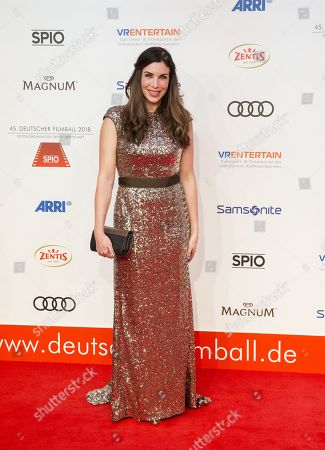 Alexandra Polzin arrives for the 45th German Film Ball at the Hotel Bayerischer Hof in Munich, Germany, 20 January 2018.