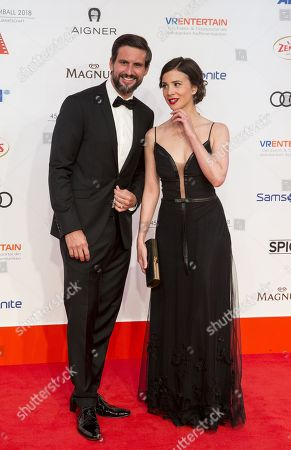Tom Beck and Aylin Tezel arrive for the 45th German Film Ball at the Hotel Bayerischer Hof in Munich, Germany, 20 January 2018.