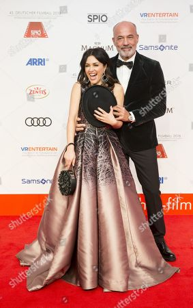 Heiner and Viktoria Lauterbach arrive for the 45th German Film Ball at the Hotel Bayerischer Hof in Munich, Germany, 20 January 2018.