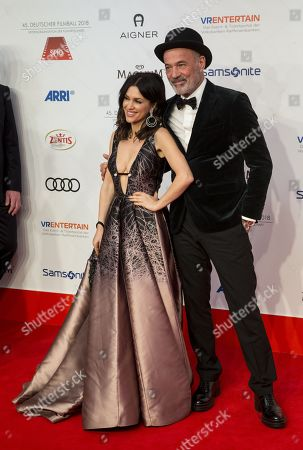 Heiner Lauterbach and his wife Viktoria Lauterbach  arrive for the 45th German Film Ball at the Hotel Bayerischer Hof in Munich, Germany, 20 January 2018.