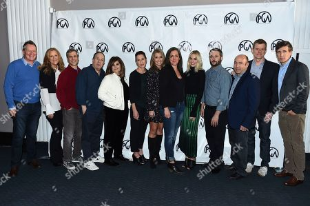 Stock Image of Gary Lucchesi, Lori McCreary, Barry Mendel, Mark Gordon, Amy Pascal, Evelyn O'Neill, Deborah Snyder, Emma Thomas, Margot Robbie, Sean McKittrick, J. Miles Dale, Graham Broadbent, Peter Spears. From left, PGA Presidents Gary Lucchesi and Lori McCreary pose with nominees Barry Mendel, Mark Gordon, Amy Pascal, Evelyn O'Neill, Deborah Snyder, Emma Thomas, Margot Robbie, Sean McKittrick, J. Miles Dale, Graham Broadbent and Peter Spears at the 2018 PGA Nominees Breakfast on in Beverly Hills, Calif