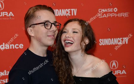 """Ed Oxenbould, Zoe Colletti. Ed Oxenbould, left, and Zoe Colletti, cast members in """"Wildlife,"""" pose together at the premiere of the film at the 2018 Sundance Film Festival, in Park City, Utah"""