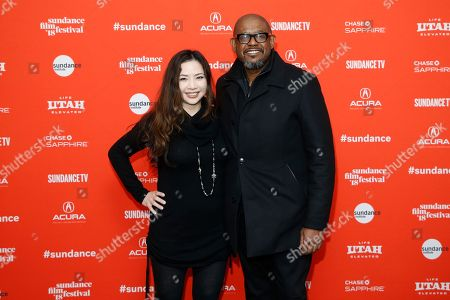 """Nina Yang Bongiovi, Forest Whitaker. Producers Nina Yang Bongiovi, left, and Forest Whitaker, right, pose at the premiere of """"Sorry To Bother You"""" during the 2018 Sundance Film Festival, in Park City, Utah"""