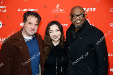 """George M. Rush, Nina Yang Bongiovi, Forest Whitaker. Producers, from left to right, George M. Rush, Nina Yang Bongiovi and Forest Whitaker pose at the premiere of """"Sorry To Bother You"""" during the 2018 Sundance Film Festival, in Park City, Utah"""