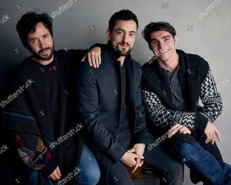 "Sebastian Hofmann, Luis Gerardo Mendez, RJ Mitte. Director Sebastian Hofmann, from left, Luis Gerardo Mendez and RJ Mitte pose for a portrait to promote the film, ""Time Share"", at the Music Lodge during the Sundance Film Festival, in Park City, Utah"