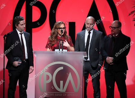 """Aaron Saidman, Leah Remini, Myles Reiff, Eli Holzman. Aaron Saidman, from left, Leah Remini, Myles Reiff, and Eli Holzman accept the award for outstanding producer of non-fiction television for """"Leah Remini: Scientology and the Aftermath"""" at the 29th Producers Guild Awards presented by Cadillac at Beverly Hilton, in Beverly Hills, Calif"""