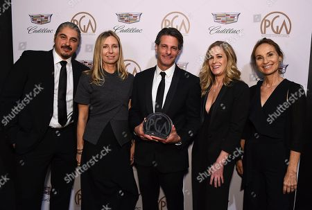 """Mike Yurchuk, Audrey Morrissey, Lee Metzger, Amanda Zucker, Kyra Thompson. Mike Yurchuk, from left, Audrey Morrissey, Lee Metzger, Amanda Zucker and Kyra Thompson with the award for outstanding producer of competition television for """"The Voice"""" at the 29th Producers Guild Awards presented by Cadillac at Beverly Hilton, in Beverly Hills, Calif"""