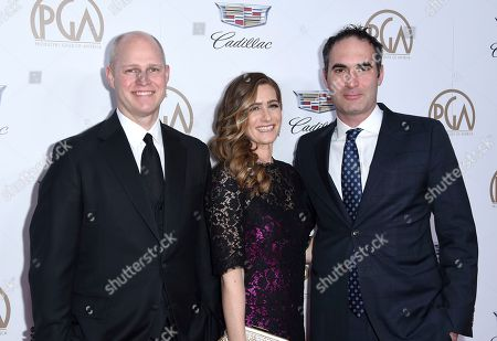 John Dahl, Melissa Crandall, Connor Schell. John Dahl, from left, Melissa Crandall, and Connor Schell arrive at the 29th annual Producers Guild Awards at the Beverly Hilton, in Beverly Hills, Calif