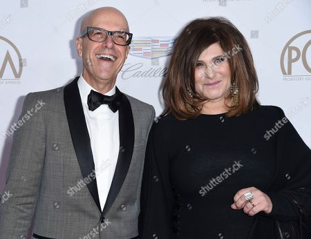 Donald De Line, Amy Pascal. PGA co-chairs, Donald De Line, left, and Amy Pascal arrive at the 29th annual Producers Guild Awards at the Beverly Hilton, in Beverly Hills, Calif