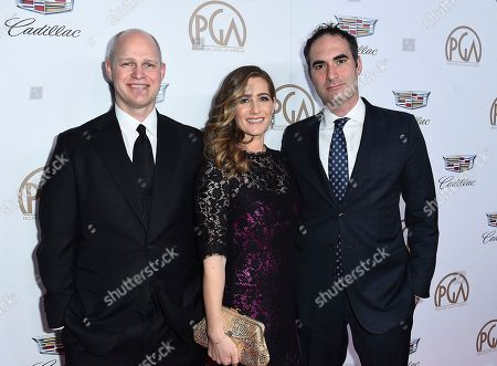 John Dahl, Melissa Crandall, Connor Schell. John Dahl, from left, Melissa Crandall, and Connor Schell arrive at the 29th Producers Guild Awards presented by Cadillac at Beverly Hilton, in Beverly Hills, Calif