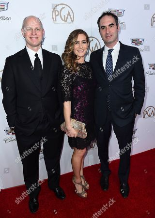 Stock Photo of John Dahl, Melissa Crandall, Connor Schell. John Dahl, from left, Melissa Crandall, and Connor Schell arrive at the 29th Producers Guild Awards presented by Cadillac at Beverly Hilton, in Beverly Hills, Calif