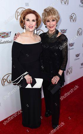 Kat Kramer, Karen Sharpe. Kat Kramer, left, and Karen Sharpe arrive at the 29th Producers Guild Awards presented by Cadillac at Beverly Hilton, in Beverly Hills, Calif