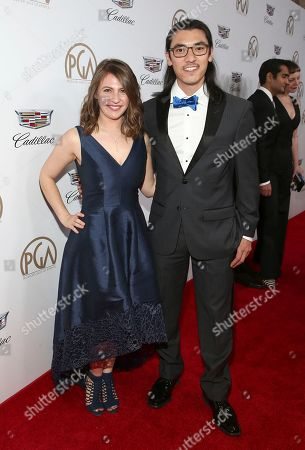 Larissa Rhodes, Jeff Orlowski. Larissa Rhodes, left, and Jeff Orlowski arrive at the 29th Producers Guild Awards presented by Cadillac at Beverly Hilton, in Beverly Hills, Calif