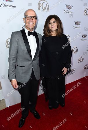Donald De Line, Amy Pascal. Donald De Line, left, and Amy Pascal arrive at the 29th Producers Guild Awards presented by Cadillac at Beverly Hilton, in Beverly Hills, Calif