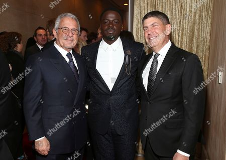 Stock Photo of Ron Meyer, Daniel Kaluuya, Jeff Shell. Ron Meyer, from left, Daniel Kaluuya and Jeff Shell arrive at the 29th Producers Guild Awards presented by Cadillac at Beverly Hilton, in Beverly Hills, Calif
