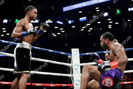 Errol Spence Jr., Lamont Peterson. Errol Spence Jr., left, knocks down Lamont Peterson during the fifth round of an IBF welterweight championship boxing match, in New York. Spence Jr. won in the eighth round