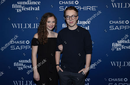 "Zoe Margaret Colletti, Ed Oxenbould. Actors Zoe Margaret Colletti, left, and Ed Oxenbould attend the ""Wildlife"" premiere party at Chase Sapphire on Main, in Park City, Utah"