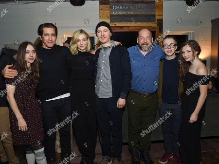 "Zoe Kazan, Jake Gyllenhaal, Carey Mulligan, Paul Dano, Bill Camp, Ed Oxenbould, Zoe Margaret Colletti. Co-writer Zoe Kazan, left, actor Jake Gyllenhaal, actress Carey Mulligan, writer/director Paul Dano, actor Bill Camp, actor Ed Oxenbould and actress Zoe Margaret Colletti attend the ""Wildlife"" premiere party at Chase Sapphire on Main, in Park City, Utah"
