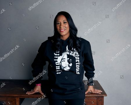 """Lyah Beth LeFlore poses for a portrait to promote """"Unsolved: The Murders of Tupac and The Notorious B.I.G.,"""" at the Music Lodge during the Sundance Film Festival, in Park City, Utah"""