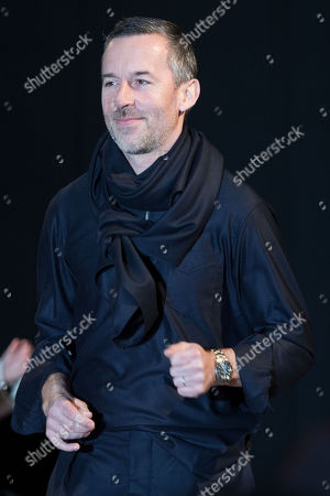Stock Image of French designer Pierre Maheo following the presentation of his Fall/Winter 2018/2019 for Officine Generale fashion house during the Paris Fashion Week, in Paris, France, 21 January 2018. The presentation of the Men's collections runs from16 to 21 January 2018.
