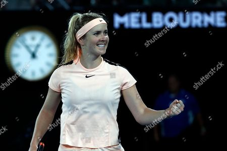 Ukraine's Elina Svitolina celebrates after defeating Denisa Allertova of the Czech Republic during their fourth round match at the Australian Open tennis championships in Melbourne, Australia