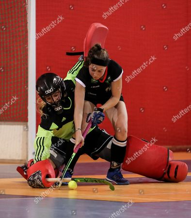 Teresa Martin (R) of Germany in action against goalkeeper Alexandra Heerbaart (L) of Netherlands during the 2018 Eurohockey Women's Indoor Championship final match between Germany and Netherlands in Prague, Czech Republic, 21 January 2018.