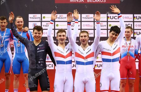 Stock Image of Team KGF's Dan Bigham, Charlie Tanfield, Harry Tanfield and Jonny Wale win Gold in the Men's Team Pursuit