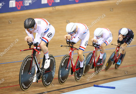 Stock Photo of Team KGF's Dan Bigham, Charlie Tanfield, Harry Tanfield and Jonny Wale win Gold in the Men's Team Pursuit