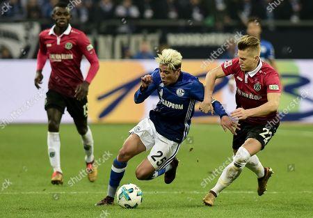 Football : Germany -1. Bundesliga  2017/18  Schalke 04 Vs Hannover 96 21/01/2018 - Amine Harit ( FC Schalke 04) , Matthias Ostrzolek (Hannover 96)