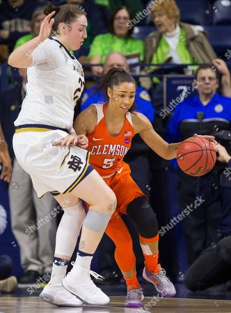 Jessica Shepard, Danielle Edwards. Clemson's Danielle Edwards (5) gets pressure from Notre Dame's Jessica Shepard (23) during the first half of an NCAA college basketball game, in South Bend, Ind