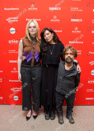 """Elle Fanning, Reed Morano, Peter Dinklage. From left, actress Elle Fanning, director Reed Morano and actor Peter Dinklage pose during the premiere of """"I Think We're Alone Now"""" at the Eccles Theatre during the 2018 Sundance Film Festival, in Park City, Utah"""