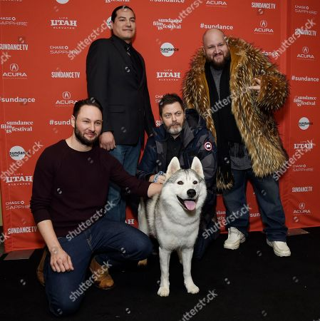 """Alexandre Espigares, Nick Offerman, Eddie Spears, Stephen Kramer Glickman. Alexandre Espigares, left, director of the animated film """"White Fang,"""" poses with Siberian Husky """"Shazam"""" and voice cast members, from left, Eddie Spears, Nick Offerman and Stephen Kramer Glickman at the premiere of the film at the 2018 Sundance Film Festival, in Park City, Utah"""