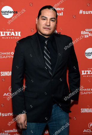 """Cast member Eddie Spears poses at the premiere of his animated film """"White Fang"""" at the 2018 Sundance Film Festival, in Park City, Utah"""