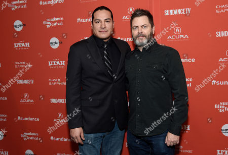 """Eddie Spears, Nick Offerman. Eddie Spears, left, and Nick Offerman, voice cast members in the animated film """"White Fang,"""" pose together at the premiere of the film at the 2018 Sundance Film Festival, in Park City, Utah"""