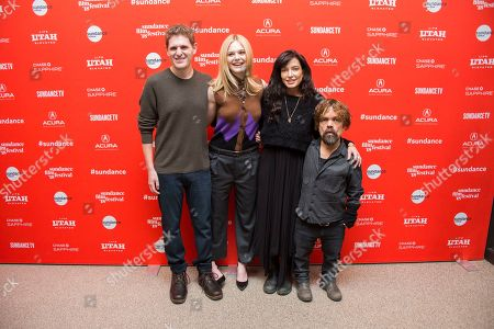 """Mike Makowsky, Elle Fanning, Reed Morano, Peter Dinklage. From left, screenwriter Mike Makowsky, actress Elle Fanning, director Reed Morano and actor Peter Dinklage pose during the premiere of """"I Think We're Alone Now"""" at the Eccles Theatre during the 2018 Sundance Film Festival, in Park City, Utah"""