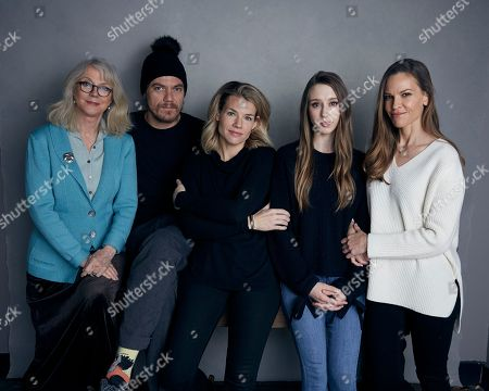 """Blythe Danner, Michael Shannon, Elizabeth Chomko, Taissa Farmiga, Hilary Swank. Blythe Danner, from left, Michael Shannon, writer/director Elizabeth Chomko, Taissa Farmiga and Hilary Swank pose for a portrait to promote the film, """"What They Had"""", at the Music Lodge during the Sundance Film Festival, in Park City, Utah"""