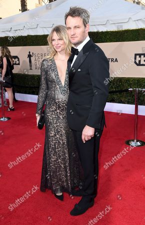 Jason Clarke, Cecile Breccia. Cecile Breccia, left, and Jason Clarke arrive at the 24th annual Screen Actors Guild Awards at the Shrine Auditorium & Expo Hall, in Los Angeles