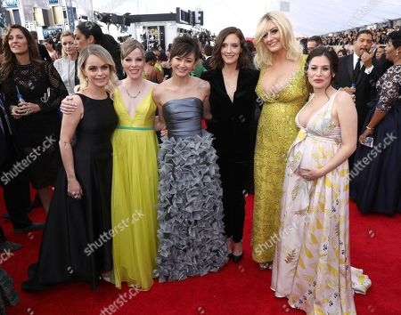 Taryn Manning, Emma Myles, Kimiko Glenn, Julie Lake, Francesca Curran, Yael Stone. Taryn Manning, from left, Emma Myles, Kimiko Glenn, Julie Lake, Francesca Curran, and Yael Stone arrive at the 24th annual Screen Actors Guild Awards at the Shrine Auditorium & Expo Hall, in Los Angeles