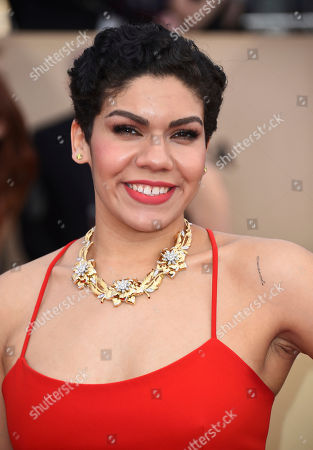 Daniella De Jesus arrives at the 24th annual Screen Actors Guild Awards at the Shrine Auditorium & Expo Hall, in Los Angeles
