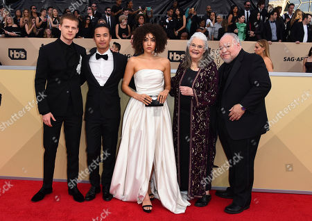 Lucas Hedges, Jordan Rodrigues, Marielle Scott, Lois Smith, Stephen Henderson. Lucas Hedges, and from left, Jordan Rodrigues, Marielle Scott, Lois Smith and Stephen Henderson arrive at the 24th annual Screen Actors Guild Awards at the Shrine Auditorium & Expo Hall, in Los Angeles
