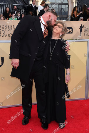 Brad William Henke and his mother arrive at the 24th annual Screen Actors Guild Awards at the Shrine Auditorium & Expo Hall, in Los Angeles