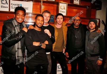 "Dexter Darden, left, Usher, Andrew Heckler, Garrett Hedlund, Forest Whitaker, Austin Hebert. Dexter Darden, left, Usher, Andrew Heckler, Garrett Hedlund, Forest Whitaker and Austin Hebert from ""Burden"" hang out at the LA Times Studio @ Sundance Film Festival Presented by Chase Sapphire, in Park City, Utah"