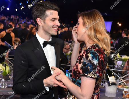 Alex Greenwald, Brie Larson. Alex Greenwald, left, and Brie Larson attend the 24th annual Screen Actors Guild Awards at the Shrine Auditorium & Expo Hall, in Los Angeles