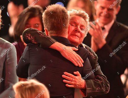 """Sandy Martin, Sam Rockwell. Sandy Martin, right, congratulates Sam Rockwell in the audience after winning the award for outstanding performance by a male actor in a supporting role for """"Three Billboards Outside Ebbing, Missouri"""" at the 24th annual Screen Actors Guild Awards at the Shrine Auditorium & Expo Hall, in Los Angeles"""